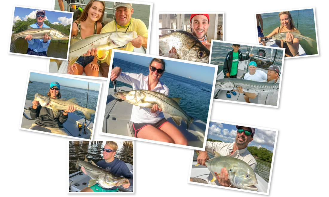 Men and women fishing in Naples FL, holding fish